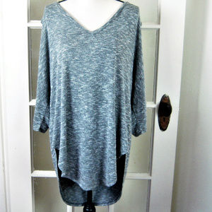 XXL Gray Heather Hi/Lo Cold Shoulder Soft Sweater